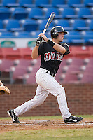 Winston-Salem catcher Matt Sharp (27) follows through on his swing versus Frederick at Ernie Shore Field in Winston-Salem, NC, Wednesday, August 15, 2007.