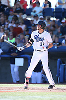 Bryan Araiza (27) of the Hillsboro Hops bats against the Spokane Indians at Ron Tonkin Field on July 22, 2017 in Hillsboro, Oregon. Spokane defeated Hillsboro, 11-4. (Larry Goren/Four Seam Images)