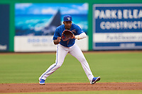 Dunedin Blue Jays shortstop Orelvis Martinez (11) fields a batted ball during a game against the Bradenton Marauders on May 13, 2021 at BayCare Ballpark in Clearwater, Florida.  (Mike Janes/Four Seam Images)