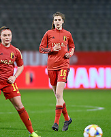 Belgian Marie Minnaert (16) pictured during a friendly female soccer game between the national teams of Belgium , called the Red Flames and The Netherlands , called the Oranje Leeuwinnen in a pre - bid tournament called Three Nations One Goal with the national teams from Belgium , The Netherlands and Germany towards a bid for the hosting of the 2027 FIFA Women's World Cup , on Thursday 18 th of February 2021  in Brussels , Belgium . PHOTO SPORTPIX.BE   SPP   DAVID CATRY