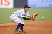 Tampa Tarpons shortstop Anthony Volpe (12) fields a ground ball during a game against the Fort Myers Mighty Mussels on May 19, 2021 at George M. Steinbrenner Field in Tampa, Florida. (Mike Janes/Four Seam Images)