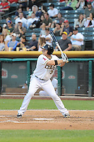 J.B. Shuck (3) of the Salt Lake Bees at bat against the Round Rock Express in Pacific Coast League action at Smith's Ballpark on August 21, 2014 in Salt Lake City, Utah.  (Stephen Smith/Four Seam Images)