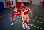 Secondary school 1990s UK. Teenage schoolboys playing basket ball in the sports hall, competitive contact sport Amersham Buckinghamshire UK 1990