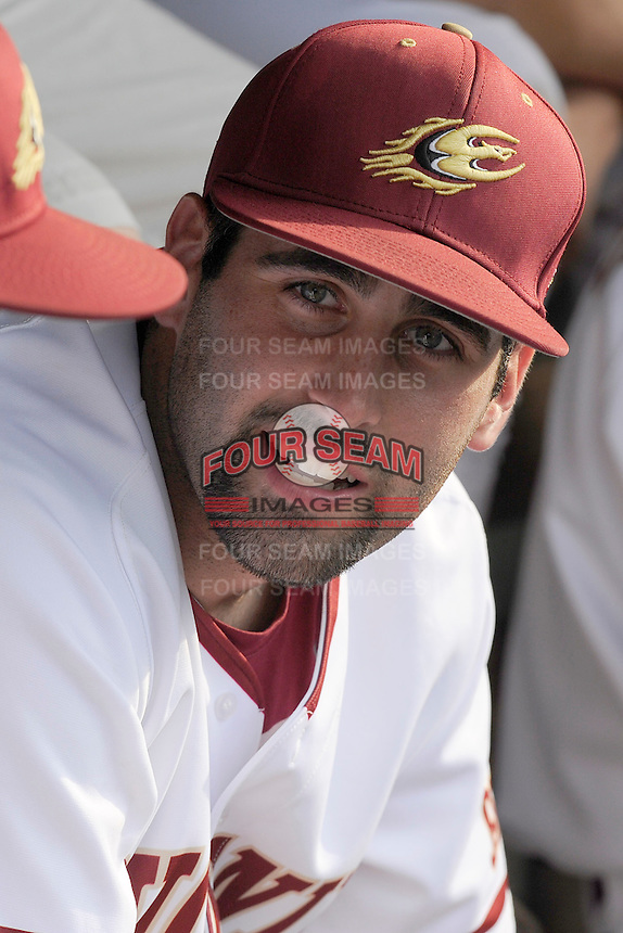Junior first baseman Ryan Kinsella (22) of the Elon Phoenix before a first-round Southern Conference Tournament game against the Furman Paladins on Wednesday, May 22, 2013, at Fluor Field at the West End in Greenville, South Carolina. Kinsella was voted the 2013 Southern Conference Player of the Year by the league's coaches. Furman won, 10-1. (Tom Priddy/Four Seam Images)
