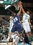 Jackson State Tigers forward Sydney Coleman (20) and North Texas Mean Green guard Jordan Williams (23) in action during the game between the Jackson State Tigers and the University of North Texas Mean Green at the North Texas Coliseum,the Super Pit, in Denton, Texas. UNT defeated Jackson State 69 to 55...