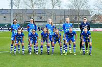 team picture KAA Gent ( Jolet Lommen (9) , Silke Vanwynsberghe (21) , Feli Delacauw (44) , Lobke Loonen (19) , goalkeeper Nicky Evrard (1) and Jasmien Mathys (12) , Rkia Mazrouai (2) , Emma Van Britsom (6) , Lyndsey Van Belle (14) , Heleen Jaques (4) , Chloe Vande Velde (10) ) before a female soccer game between  AA Gent Ladies and Standard Femina de Liege on the first matchday of play-off 1 of the  2020 - 2021 season of Belgian Scooore Womens Super League , saturday 3 th of April 2021  in Oostakker , Belgium . PHOTO SPORTPIX.BE | SPP | STIJN AUDOOREN