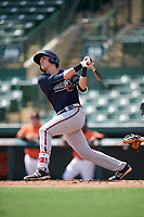 Atlanta Braves third baseman Jordan Rodgers (9) at bat during an Instructional League game against the Baltimore Orioles on September 25, 2017 at Ed Smith Stadium in Sarasota, Florida.  (Mike Janes/Four Seam Images)