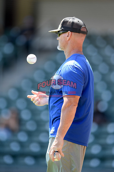 """Travis Barbary at a """"Sandlot""""-style game during the coronavirus shutdown with local Major League and Minor League players from around the Upstate region on Thursday June 25, 2020, at Fluor Field at the West End in Greenville, South Carolina. (Tom Priddy/Four Seam Images)"""
