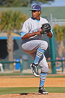 Ivor Hodgson , jr. of the Wilmington Blue Rocks pitching against the Myrtle Beach Pelicans on April 11, 2010  in Myrtle Beach, SC.