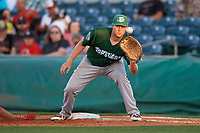 Daytona Tortugas first baseman Gavin LaValley (15) stretches for a throw during a game against the Florida Fire Frogs on April 6, 2017 at Osceola County Stadium in Kissimmee, Florida.  Daytona defeated Florida 3-1.  (Mike Janes/Four Seam Images)