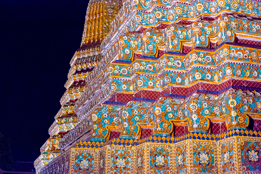 Bangkok, Thailand.  Phra Maha Chedi of King Rama I, in the Wat Pho Compound of the Reclining Buddha.