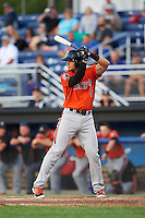 Aberdeen IronBirds second baseman Alejandro Juvier (6) at bat during a game against the Batavia Muckdogs on July 15, 2016 at Dwyer Stadium in Batavia, New York.  Aberdeen defeated Batavia 4-2.  (Mike Janes/Four Seam Images)