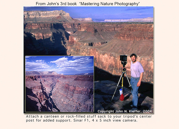 Gotta be careful. I'm just a foot or two from a 1,000 foot drop.  When using a view camera, you examine an upside down & backwards image on the ground glass, while under the dark cloth. It takes a bit to get used to.