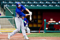 Grant Green (9) of the Midland RockHounds hits a ground ball during a game against the Springfield Cardinals on April 19, 2011 at Hammons Field in Springfield, Missouri.  Photo By David Welker/Four Seam Images