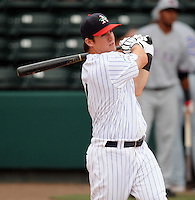 Infielder Joe Sanders (7) of the Asheville Tourists hits in the home run derby at the 2010 South Atlantic League All-Star Game on Tuesday, June 22, 2010, at Fluor Field at the West End in Greenville, S.C. Photo by: Tom Priddy/Four Seam Images