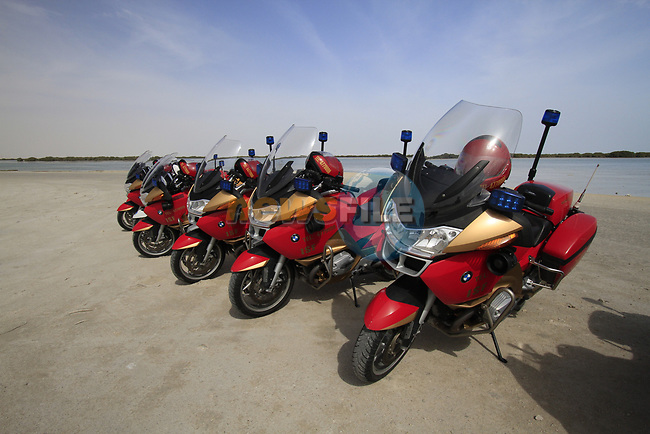Police motorcycles lined up at the start of Stage 4 of the 2012 Tour of Qatar, running 144km from Al Thakhira to Madinat Al Shamal, Al Thakhira Port, Qatar. 8th February 2012.<br /> (Photo Eoin Clarke/Newsfile)