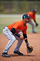 Miami Marlins J.C. Millan (75) during a Minor League Spring Training game against the St. Louis Cardinals on March 26, 2018 at the Roger Dean Stadium Complex in Jupiter, Florida.  (Mike Janes/Four Seam Images)