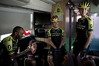 relaxed pre-race athmosphere on the Mitchelton-Scott teambus with Tsgabu Grmay (ETH/Mitchelton-Scott), DS Julian Dean, Esteban Chavez (COL/Mitchelton-Scott) & Mikel Nieve (ESP/Mitchelton-Scott)<br /> <br /> Stage 8: Valls to Igualada (167km)<br /> La Vuelta 2019<br /> <br /> ©kramon