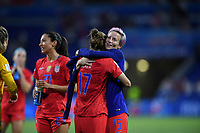 DECINES-CHARPIEU, FRANCE - JULY 02: Tobin Heath #17, Megan Rapinoe #15 celebrate during a 2019 FIFA Women's World Cup France Semi-Final match between England and the United States at Groupama Stadium on July 02, 2019 in Decines-Charpieu, France.