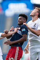 FOXBOROUGH, MA - JULY 25: USL League One (United Soccer League) match. Orlando Sinclair #99 of New England Revolution II battle for corner kick during a game between Union Omaha and New England Revolution II at Gillette Stadium on July 25, 2020 in Foxborough, Massachusetts.