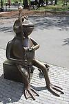 Tadpole sculpture with fishing pole, Boston Common, MA