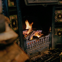 Fireplace at a local pub in Connemara, Ireland