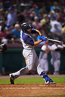 Brooklyn Cyclones outfielder Desmond Lindsay (5) at bat during a game against the Tri-City ValleyCats on September 1, 2015 at Joseph L. Bruno Stadium in Troy, New York.  Tri-City defeated Brooklyn 5-4.  (Mike Janes/Four Seam Images)