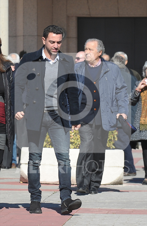 FC Barcelona's player Xavi Hernandez during the funeral ceremony in memory of the national soccer team coach Luis Aragones. February 2, 2014. (ALTERPHOTOS/S.Lopez)