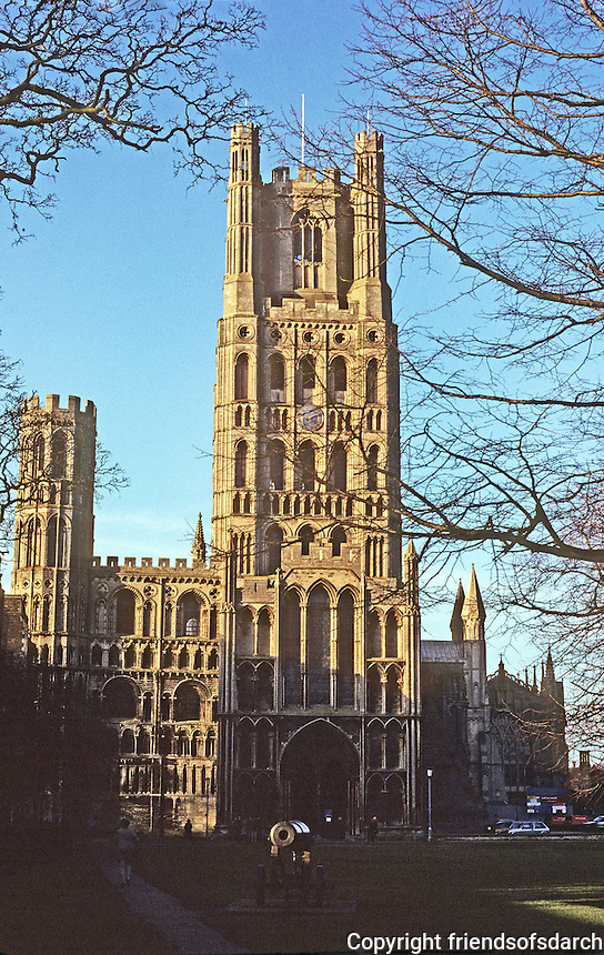 "Ely: Ely Cathedral--West elevation. Entrance--Galilee Porch. Early English, dating ""from about the time of Magna Carta"". Photo '90."