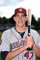 Mahoning Valley Scrappers outfielder Bradley Zimmer (47) poses for a photo after a game against the Batavia Muckdogs on August 24, 2014 at Dwyer Stadium in Batavia, New York.  Mahoning Valley defeated Batavia 7-6.  (Mike Janes/Four Seam Images)