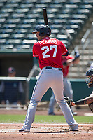 Tacoma Rainiers right fielder Cameron Perkins (27) at bat during a Pacific Coast League game against the Sacramento RiverCats at Raley Field on May 15, 2018 in Sacramento, California. Tacoma defeated Sacramento 8-5. (Zachary Lucy/Four Seam Images)