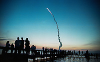 """6:11a.m. EDT launch, Space Shuttle  Atlantis, STS 101Mission, May 2000, Kennedy Space Center, Titusville, FL.  Crew:  Commander James D. Halsell Jr., Pilot Scott J. """"Doc"""" Horowitz, Mission Specialists Mary Ellen Weber, Jeffrey N. Williams, James S. Voss, Susan J. Helms and Yury Vladimirovich Usachev.  (Photo by Brian Cleary/bcpix.com)"""