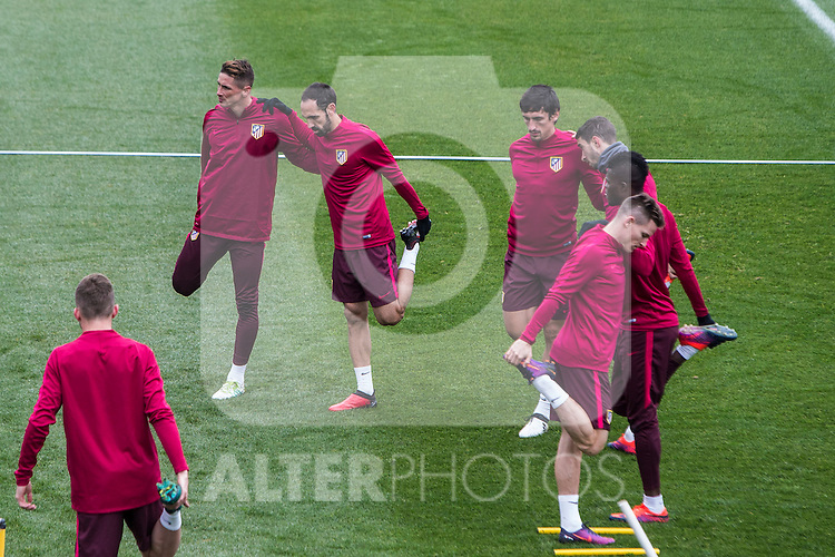 Atletico de Madrid's Fernando Torres, Juanfran Torres, Stefan Savic, Kevin Gameiro during the official training of Atletico de Madrid  before the Champions League match between Atletico de Madrid and PSV Eindhoven at Cerro del Espino in Madrid , Spain. November 22, 2016. (ALTERPHOTOS/Rodrigo Jimenez)