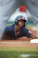 Darling Florentino (13) of the Rome Braves dives head first into third base during the game against the Kannapolis Intimidators at Kannapolis Intimidators Stadium on April 7, 2019 in Kannapolis, North Carolina. The Intimidators defeated the Braves 2-1. (Brian Westerholt/Four Seam Images)