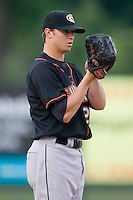Starting pitcher Zach Britton (22) of the Delmarva Shorebirds looks in for the sign versus the Kannapolis Intimidators at Fieldcrest Cannon Stadium in Kannapolis, NC, Wednesday, May 14, 2008.