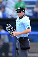 Home plate umpire Brennan Miller before a NYPL game between the Batavia Muckdogs and State College Spikes on June 30, 2013 at Dwyer Stadium in Batavia, New York.  State College defeated Batavia 7-2.  (Mike Janes/Four Seam Images)