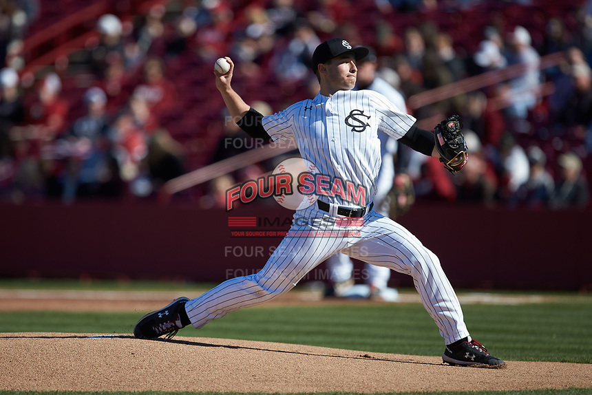 South Carolina Gamecocks starting pitcher Brett Kerry (49) in action against the Holy Cross Crusaders at Founders Park on February 15, 2020 in Columbia, South Carolina. The Gamecocks defeated the Crusaders 9-4.  (Brian Westerholt/Four Seam Images)