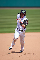 Rochester Red Wings first baseman James Beresford (2) running the bases during a game against the Toledo Mudhens on June 12, 2016 at Frontier Field in Rochester, New York.  Rochester defeated Toledo 9-7.  (Mike Janes/Four Seam Images)