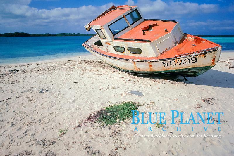 fishing boat on beach, Lac Bay, Bonaire Netherland Antilles (Dutch ABC Islands) (Caribbean, Atlantic)