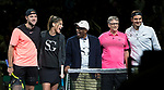 March 05, 2018: Roger Federer (SUI) and Bill Gates defeated Jack Sock (USA) and Savannah Guthrie 6-3 at The Match for Africa 5 Silicon Valley played at the SAP Center in San Jose, California. ©Mal Taam/TennisClix