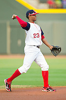 Carolina League All-Star Xander Bogaerts #23 of the Salem Red Sox makes a throw to first base against the California League All-Stars during the 2012 California-Carolina League All-Star Game at BB&T Ballpark on June 19, 2012 in Winston-Salem, North Carolina.  The Carolina League defeated the California League 9-1.  (Brian Westerholt/Four Seam Images)