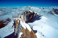 .The French Alps seen from the summit of the Aiguille du Midi above Chamonix, southern France...
