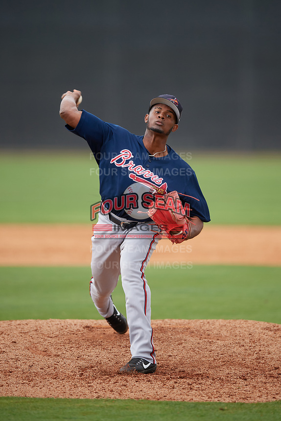 Atlanta Braves Alex Aquino (43) during a Minor League Spring Training game against the New York Yankees on March 12, 2019 at New York Yankees Minor League Complex in Tampa, Florida.  (Mike Janes/Four Seam Images)