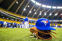 1 April 2016: A Toronto Blue Jays cap and clove lie on the artificial turf sidelines prior to a pre-season exhibition game between the Blue Jays and the Boston Red Sox at Olympic Stadium in Montreal, Quebec, Canada. The Red Sox defeated the Blue Jays 4-2 in the first of two MLB weekend exhibition games, which saw an attendance of 52,682 at the former home on the Montreal Expos. Mandatory Credit: Ed Wolfstein Photo *** RAW (NEF) Image File Available ***