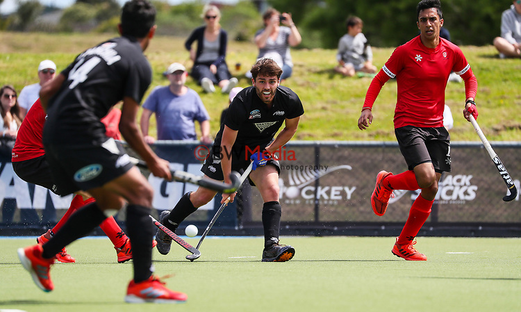 Aidan Sarikaya. International Hockey, Blacksticks men v Canada. Lloyd Elsmore Park, Auckland, New Zealand. Sunday 21 October 2018. Photo: Simon Watts/Hockey NZ