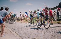 Bob Jungels (LUX/Quick-Step Floors) at the end of pavé sector #9<br /> <br /> Stage 9: Arras Citadelle > Roubaix (154km)<br /> <br /> 105th Tour de France 2018<br /> ©kramon