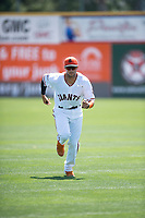 San Jose Giants designated hitter Gio Brusa (26) warms up before a California League game against the Lancaster JetHawks at San Jose Municipal Stadium on May 13, 2018 in San Jose, California. San Jose defeated Lancaster 3-0. (Zachary Lucy/Four Seam Images)
