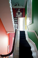 Halfway up the Mondrian-like staircase is an installation by Gurmit