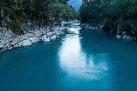 Dark blue colours of the Hokitika River in the famous Hokitika Gorge - South Westland