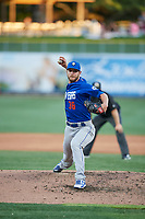Las Vegas 51s starting pitcher Drew Gagnon (36) delivers a pitch to the plate against the Salt Lake Bees at Smith's Ballpark on May 7, 2018 in Salt Lake City, Utah. The 51s defeated the Bees 10-8. (Stephen Smith/Four Seam Images)